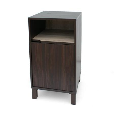 Miya Single Shelf Faux Wood Cabinet, Walnut Finish and Sanremo - Walnut Wood Single
