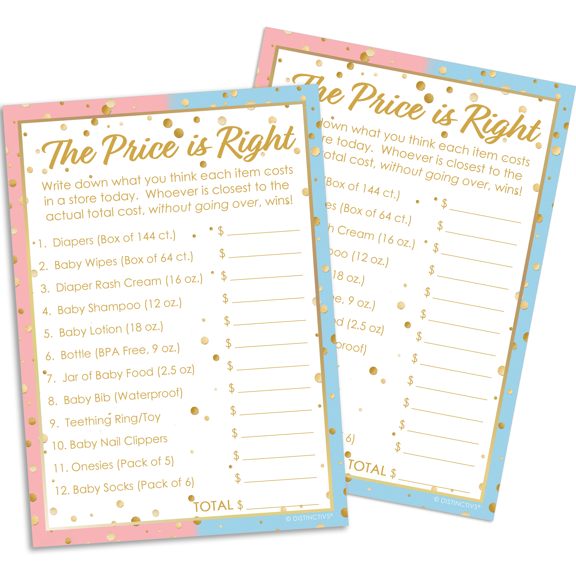 Gender Reveal Party Game Cards 20ct - The Price is Right Baby Shower Game - for up to 20 Guests