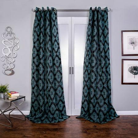 Lambrequin Zarya Damask Semi-Sheer Grommet Single Curtain Panel