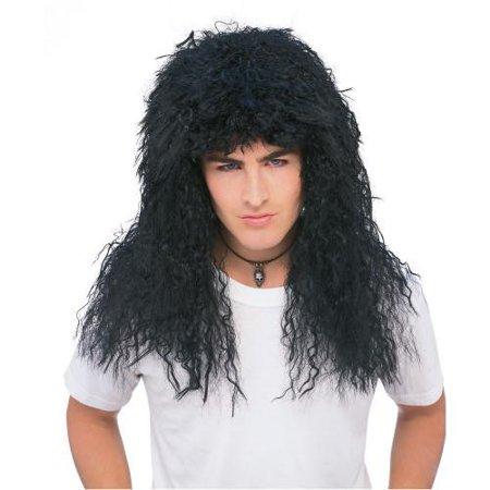 New 80s Rock Star Feathered Black Costume Accessory Wig](80s Rockstar Wig)