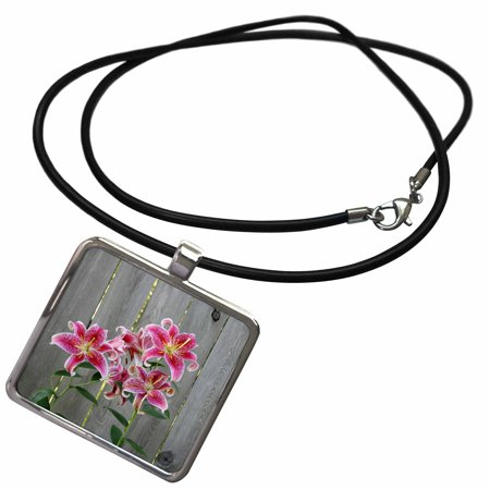 3dRose Stargazer Lily by Rustic Fence - Necklace with Pendant (ncl_228229_1)
