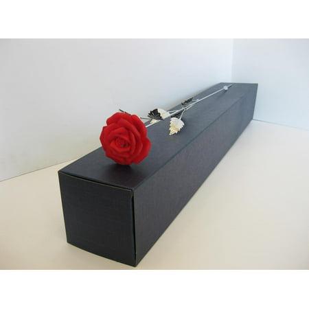 FINE ITALIAN SILVER & PAINTED PORCELAIN SCARLET RED LONG STEM FLOWER ()
