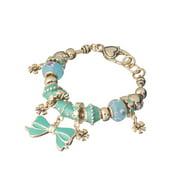 Ribbon Bow Theme Bead Crystal Gold-tone Designer Charm Giggles Curls Bows Bracelet