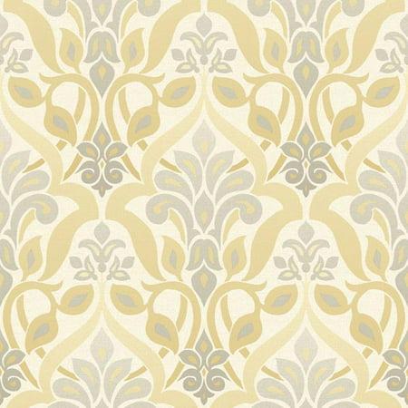 Beacon House Fusion Yellow Ombre Damask - Yellow Faux Wallpaper