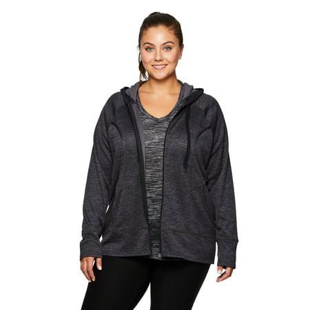 f32e4d9032f35 RBX - RBX Active Women's Plus Size Full Zip Hooded Fleece Lined Running  Jacket - Walmart.com