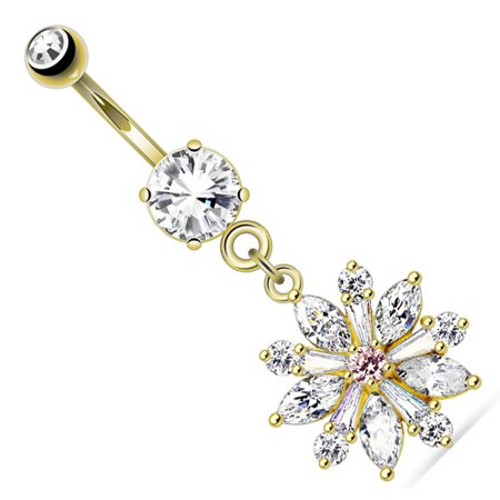 Belly Button Ring Flower Prong Setting CZ Petals Dangle Navel Ring 14 Gauge
