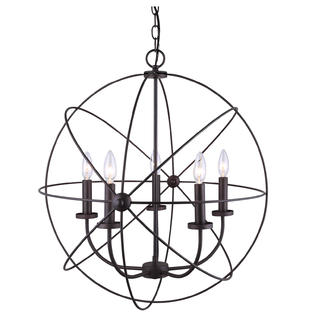 Chandelier 5 Light Orb Sphere Hanging Ceiling Pendant Globe Oil Rubbed Bronze by