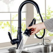 Solid Brass High Arch Oil Rubbed Bronze Single Handle Kitchen Faucets with Pause Control Handheld Pull Out Spout Sprayer
