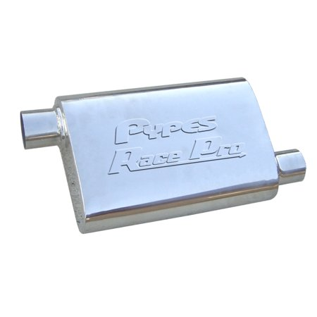 Pypes Performance Exhaust MVR10S Race Pro Series Muffler; 14 in.; 2.5 in. Offset/Offset; Hardware Not Incl.; Polished 304 Stainless Steel;
