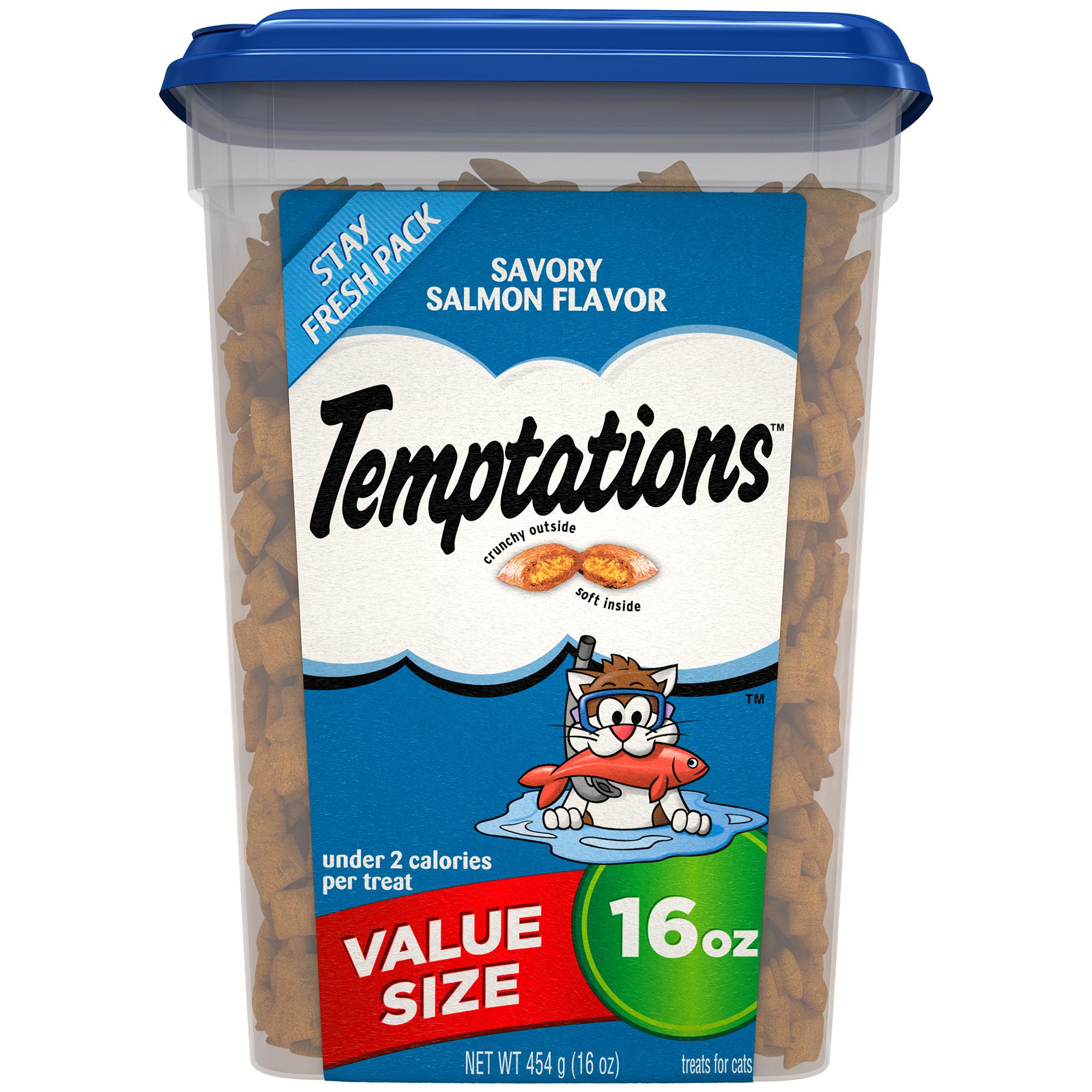 TEMPTATIONS Classic Treats for Cats Savory Salmon Flavor, 16 oz. Tub