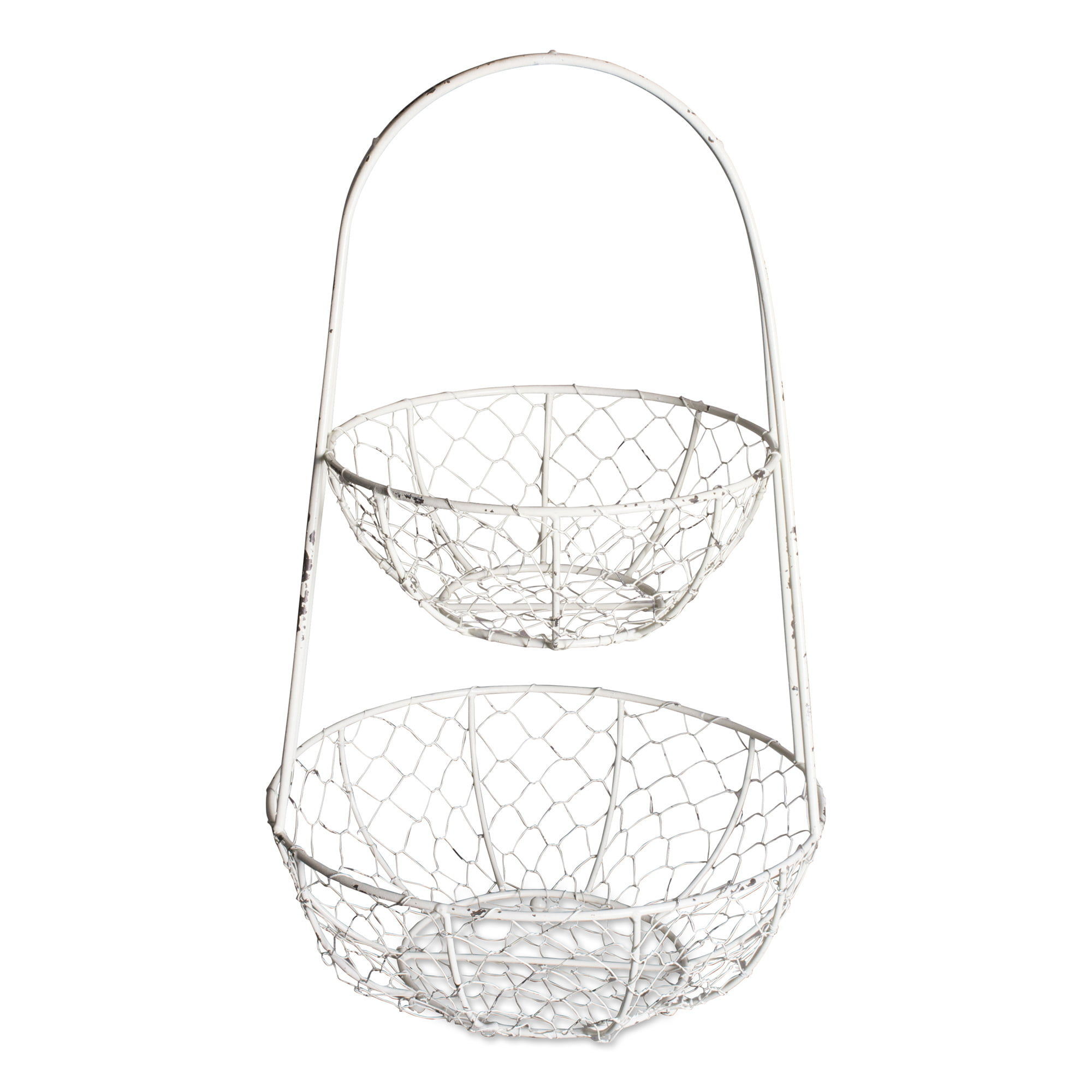 CVHOMEDECO Rustic Chicken Wire 2 Tier Fruit Basket Metal Gathering Basket with Handle Country Vintage Style Storage Basket 12-3//4 X 8-3//4 X H 16 Inch Grey