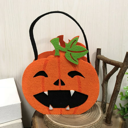 Halloween Non-Woven Candy Bag Trick or Treat Kids' Candy Bucket with Handle Halloween Party Costumes Supplies Decoration--Pumpkin