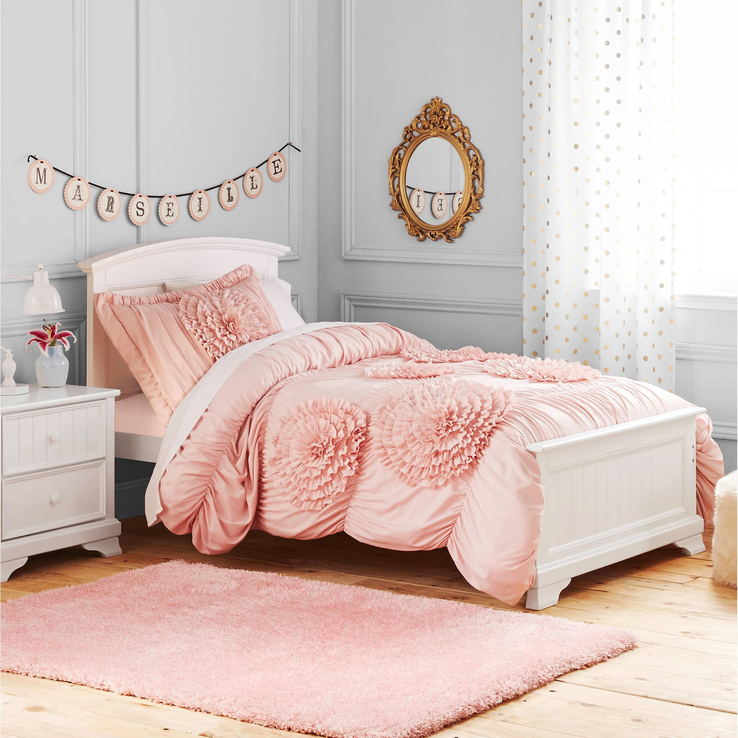 Better Homes and Gardens Kids Ruffled Flowers Bedding forter