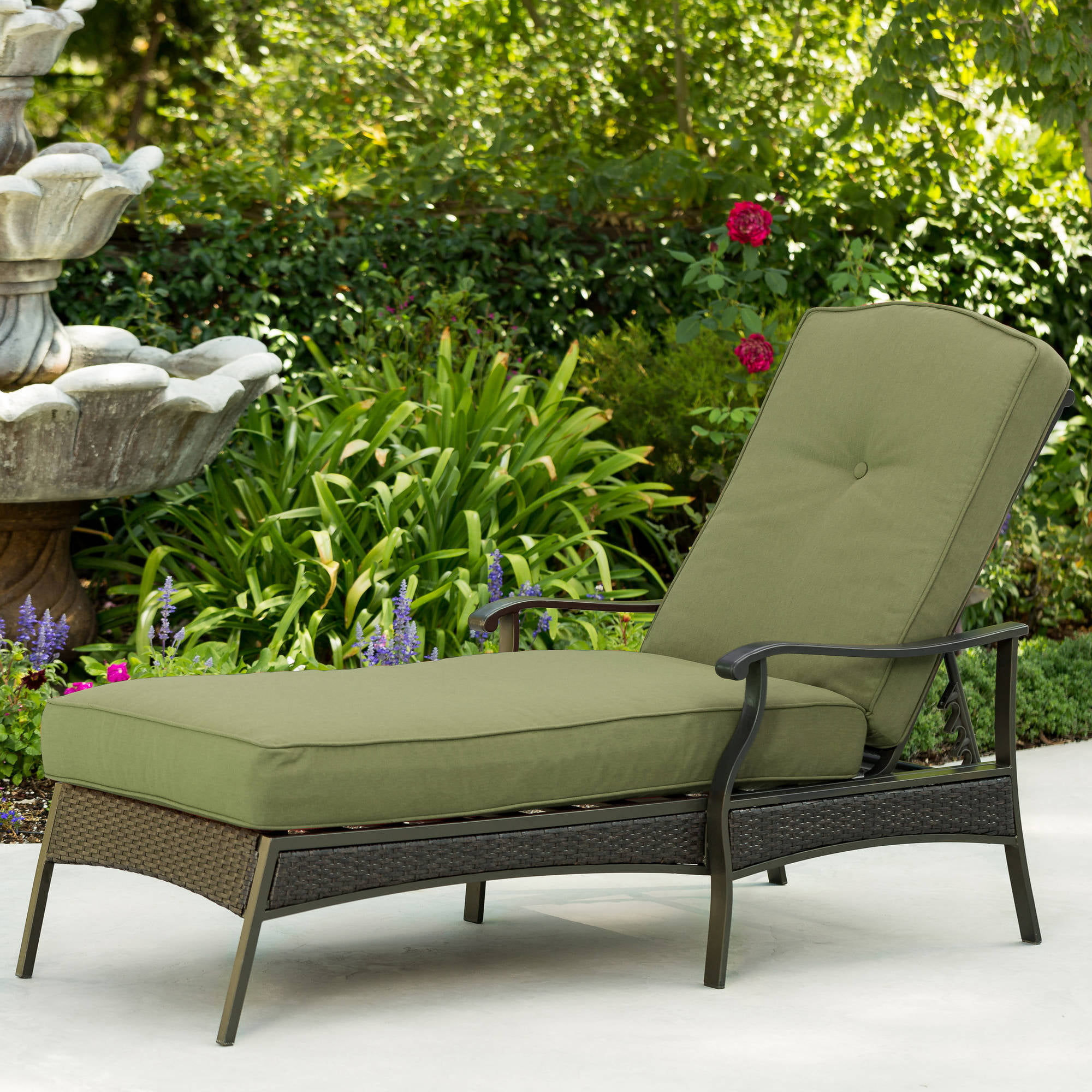 Better Homes and Gardens Providence Outdoor Chaise Lounge, Green by Generic