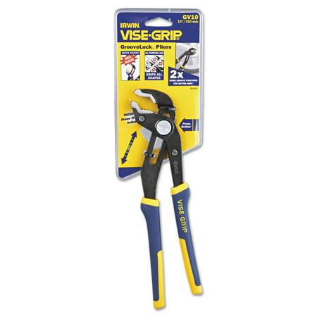 Irwin Groovelock V Jaw Pliers  10   Tool Length  2 1 4   Jaw Capacity  Gray Blue Yellow