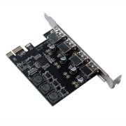 Four Ports USB 3.0 Super Fast 5Gbps PCI-E Expansion Card PCI Express Adapter Converter Card 6A Power Supply Module For Desktop PC