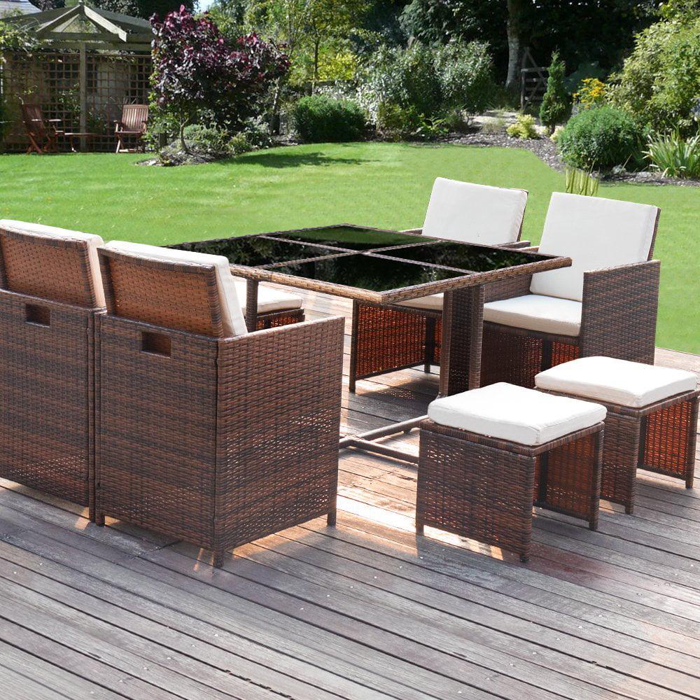 extraordinary outdoor wicker patio furniture sets | Walnew 9 Pieces Patio Dining Sets Outdoor Furniture Patio ...