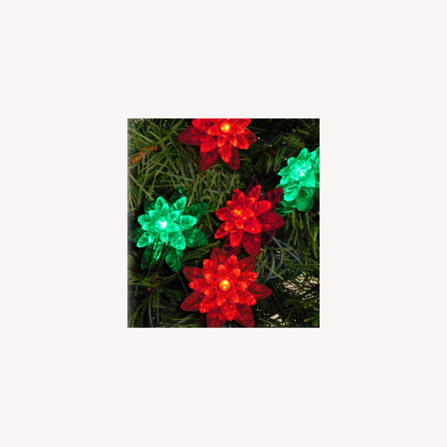 Set of 25 LED Red and Green Flower Petal Reflector Christmas Lights - Green Wire