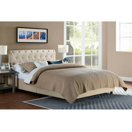 Carmela Linen Upholstered Bed ; Mattress Bundle, Tan, Multiple Sizes