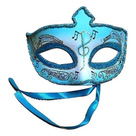Mardi Gras Hats And Masks (Venetian Mardi Gras Masquerade Half Blue Music Note Notes Eye Mask)