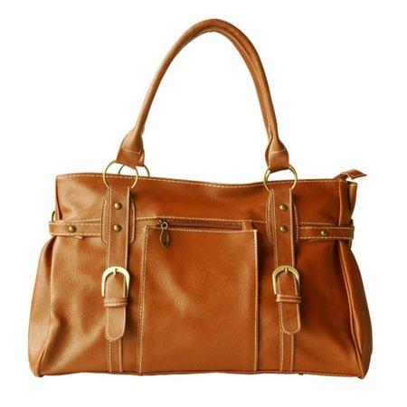 FB-XXC266-BROWN Revival Mode - Brown Double Handle Leatherette Satchel Hobo Handbag Shoulder Strap  Brown