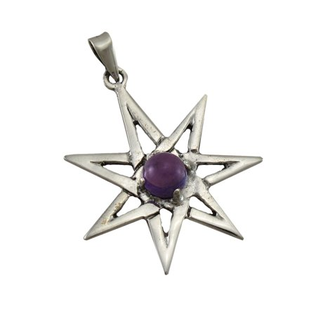 Sterling Silver Septagram Faery Star Pendant w/ Purple Cabochon