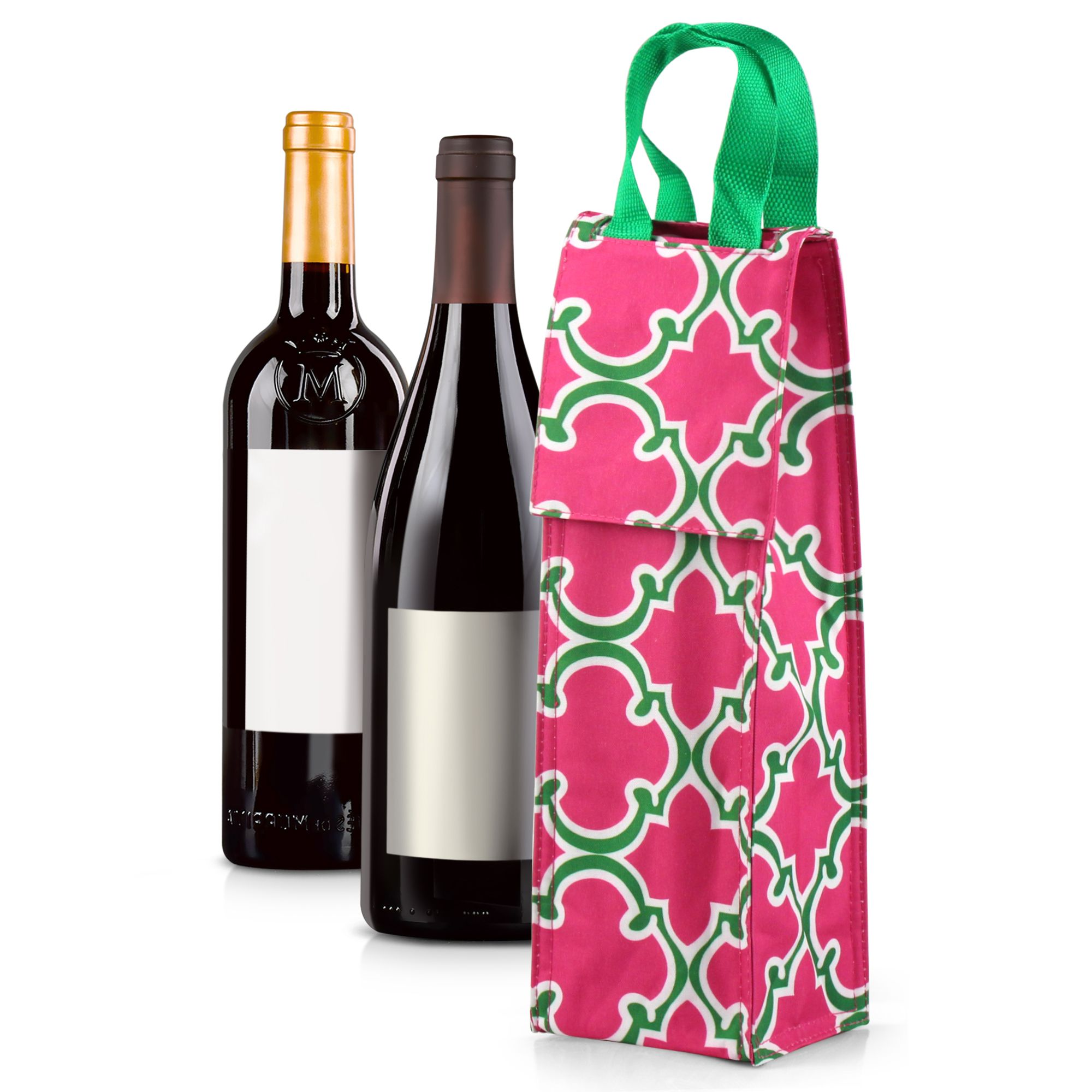 Wine Carrier Bag by Zodaca Thermal Insulated Lightweight Wine Bottle Tote Carrying Case Whisky Glass Bottle Carry Holder Bag for Travel Party Gift - Pink with Green Trim Quadrefoil