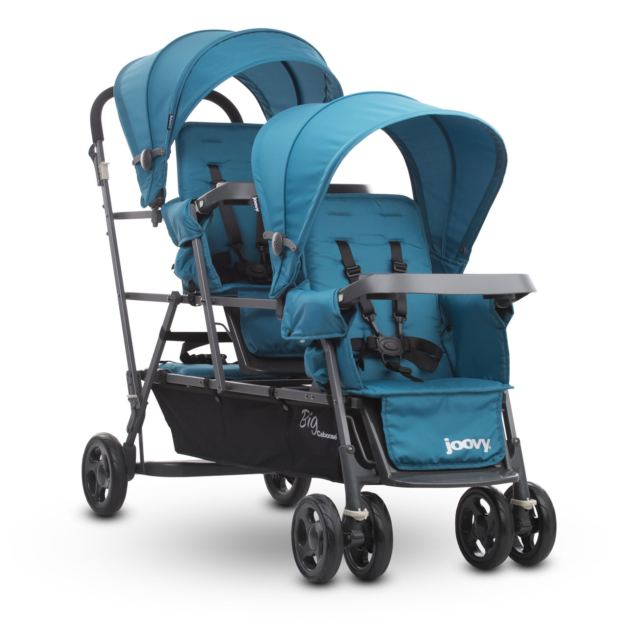 Big Caboose Graphite Stand-on Triple Stroller - Turquoise