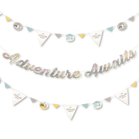 World Awaits - Travel Themed Party Letter Banner Decoration - 36 Banner Cutouts and Adventure Awaits Banner - Summer Themed Decorations Ideas