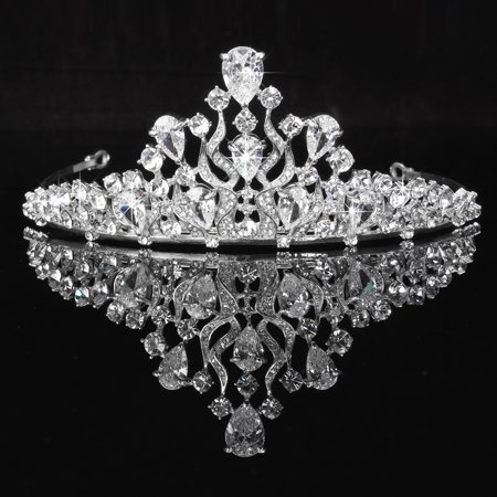 LuckyFine Circle Rhinestones Queen Large Crown Wedding Bridal Hair Accessories Tiaras