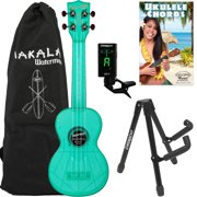 Kala Waterman Fluorescent Blue Raspberry Soprano Ukulele with Bag, Stand, Clip-On Tuner, Bag & Lesson-Chord Guide
