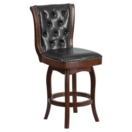 Flash Furniture 26'' High Cappuccino Wood Counter Height Stool with Black Leather Swivel
