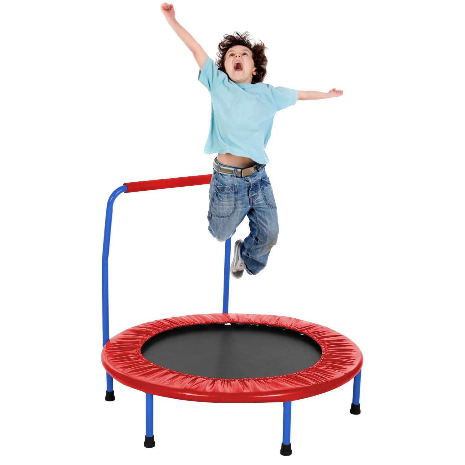 """Famies Childrens Mini Trampoline,36/""""Kids Indoor and Outdoor Trampoline,Recreational Sports Trampoline with Safety Handrail"""
