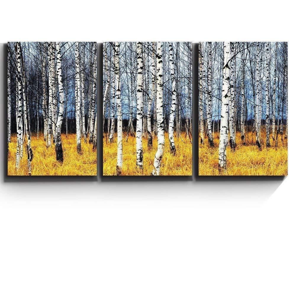 "Canvas Art Wall Decor Wall26 birch grove in autumn forest 16/""x24/""x3 Panels"