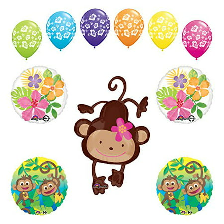 Mod Monkey Party Supplies Birthday or Baby Shower Girl Monkey Love Jungle Balloon Bouquet Decorations