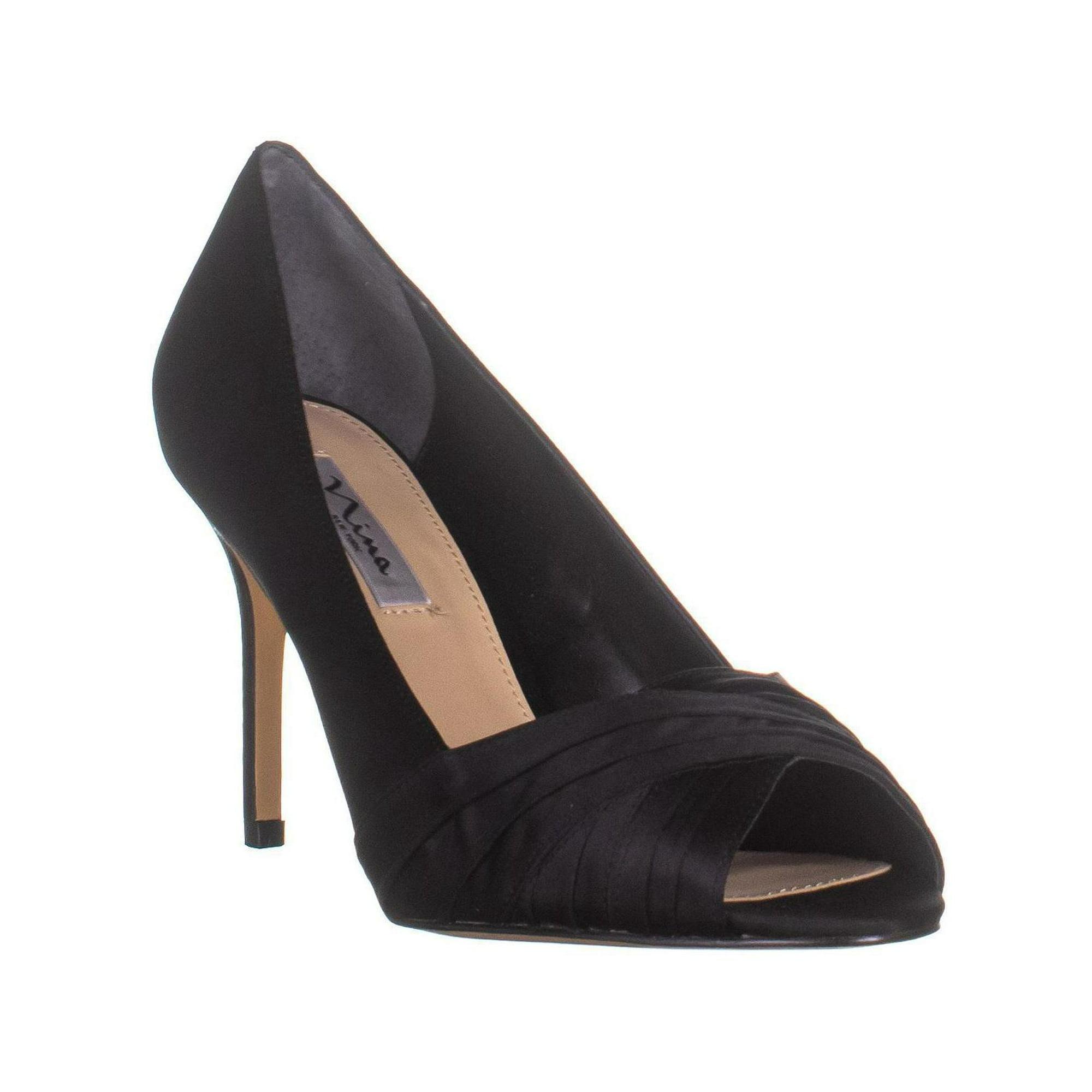 fad064b7c4b Nina Rhiyana Peep-Toe Pumps, Black Luster Satin