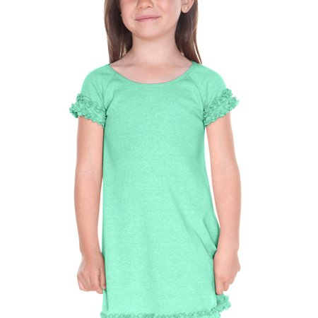 Kavio P1P0641 Girls 3-6X Lettuce Edge Raglan Cap Sleeve Dress-Ice Green-6X