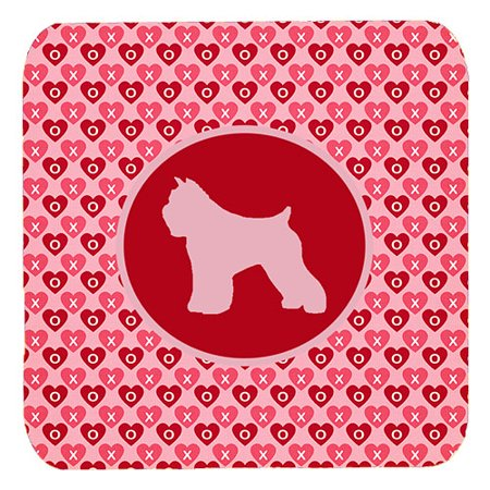 1120 Foam - Set of 4 Bouvier des Flandres Valentine Hearts Foam Coasters