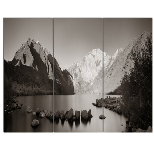 Design Art 'Snow Mountain Lake Panorama' 3 Piece Photographic Print on Wrapped Canvas Set