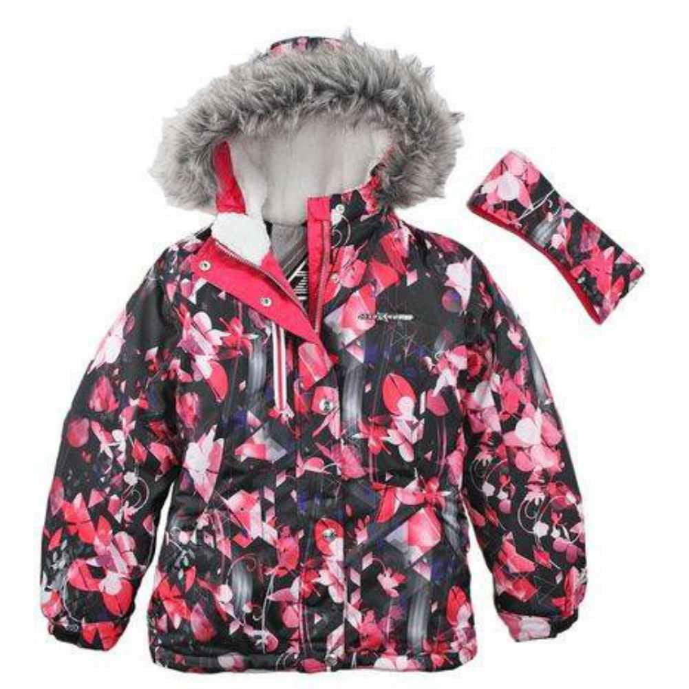 Zero Xposur Girls Black Pink Floral Coat Puffer Snowboard...