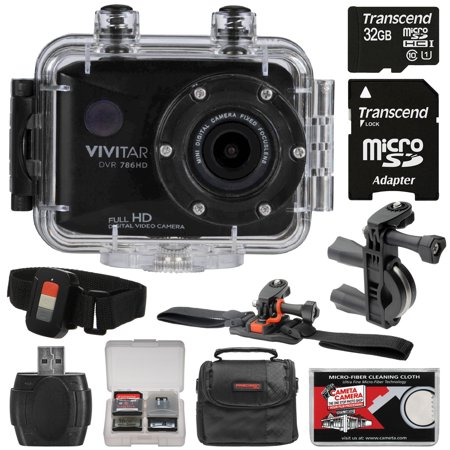 Vivitar DVR786HD 1080p HD Waterproof Action Video Camera Camcorder (Black) with Remote, Vented Helmet & Handlebar Bike Mounts + 32GB Card + Case +