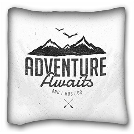 WinHome Adventure Awaits Fashion Design Throw Pillow Case Cases Cover Cushion Covers Sofa Size 18x18 Inches Two Side