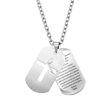 Mens Prayer & Cross Dogtag Rolo Chain Necklace in Stainless Steel