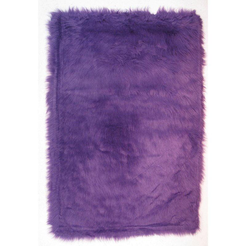 Fun Rugs Flokati Area Rugs - FLK-009 Shag & Flokati Purple Shag Comfy Plush Fringes Rug