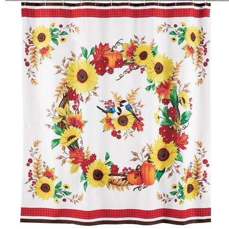 Bathroom Shower Curtain with Sunflowers Harvest Wreath Design of Pumpkins, Foliage, White Background with Yellow, Orange, Green, Red, Brown Fall Décor Accents](Pumpkin Wreath)