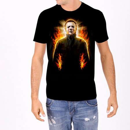 Halloween Men's  Mike Myers Flames T-shirt - Mike And Mike Halloween Patriots
