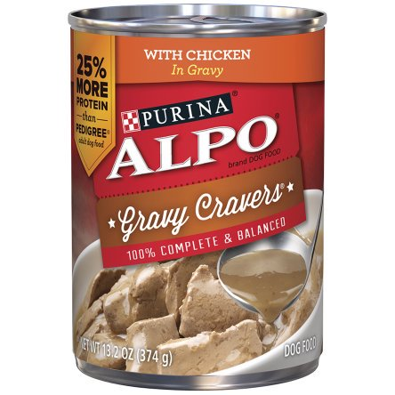(12 Pack) ALPO Gravy Cravers Canned With Chicken in Gravy Adult Wet Dog Food - 13.2 oz. Can 13.2 Ounce Puppy Food