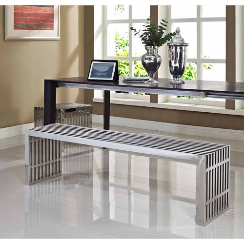 Modway Gridiron Benches Set of 2, Silver
