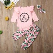 Newborn Baby Girls Clothes Romper Jumpsuit + Floral Pants Leggings Outfit 3PCS Set Pink 0-6 Months