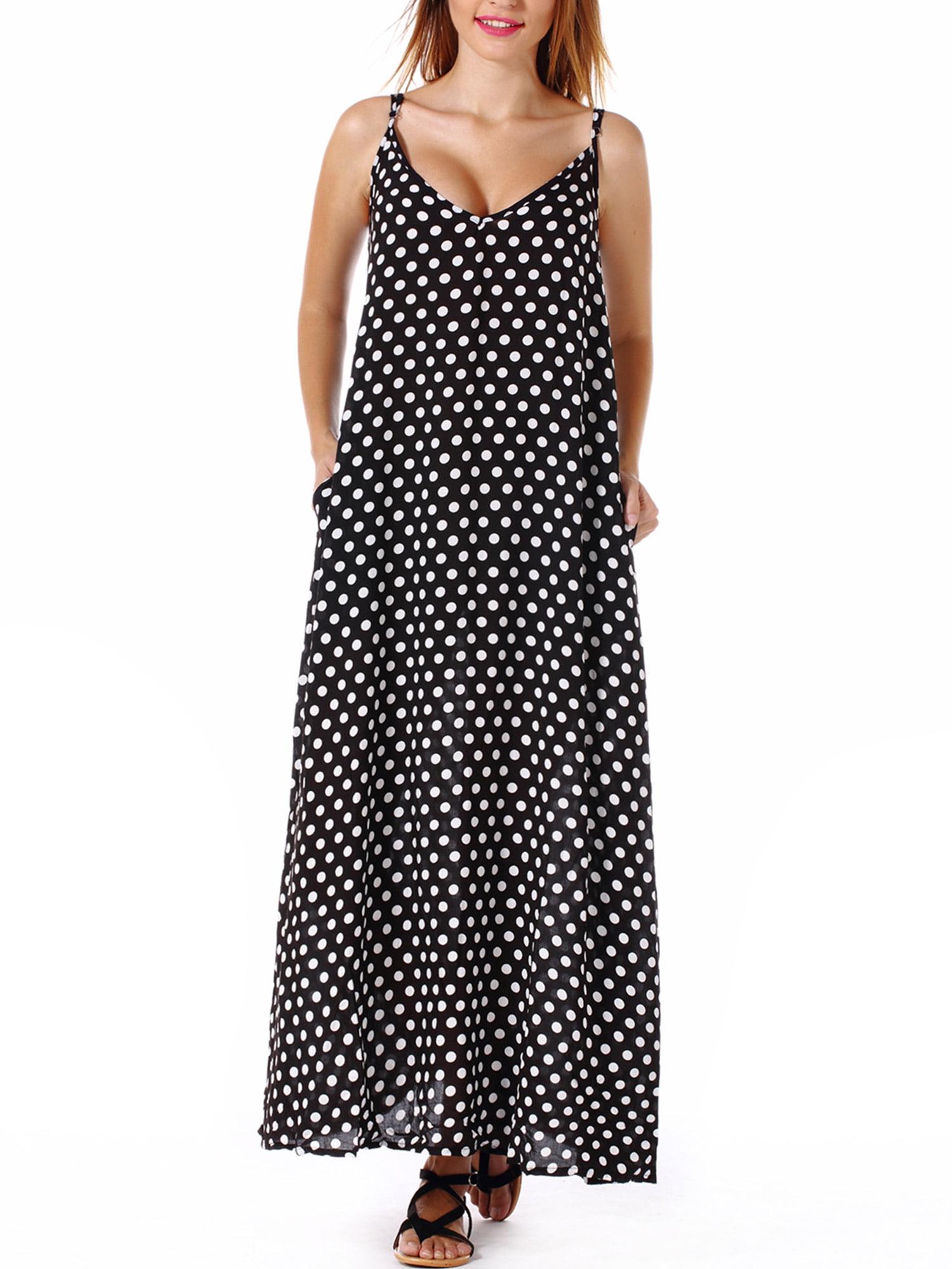 SAYFUT Plus Size Women\'s Sundresses Spaghetti Strap Polka Dot Dress  Sleeveless V-Neckline Backless Beach Swimwear Long Dresses